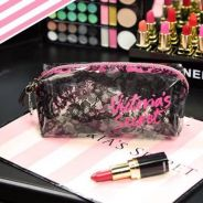 Victoria's Secret Black Lace Pink Makeup Bag