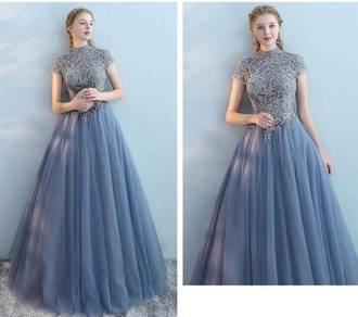 Blue pink wedding bridal prom dress gown RBP0766