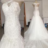 2nd hand mermaid wedding gown with 1.2meter train