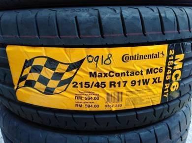 215/45/17 Continental MC6 Tyre Tayar