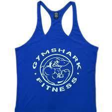 Gym Shark Blue Singlet (Gym Fitness Sport Baju)