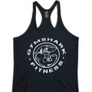 Gym Shark Black Singlet (Gym Fitness Sport Baju)