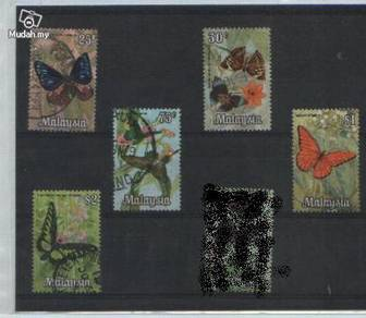 Use-d Stamp 5v Butterfly Malaysia 1970