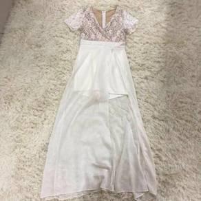 White maxi boho sexy slit prom dress plus size 2xl