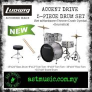 Ludwig Accent Drive Drumset With Cymbals - Silver
