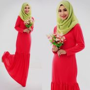 Round Neck Basic Jubah Dress (Including Shawl)-D.P