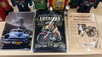 Classic Vintage Poster Tin Sign Kereta Biru