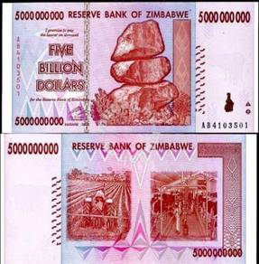 Zimbabwe 5 Billion dollars 2008 unc