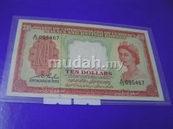 BOC of currency Malaya 10 Dollars 1953