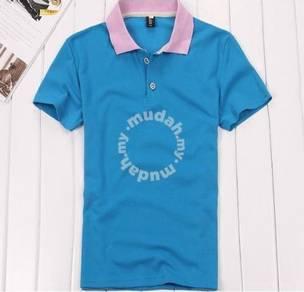 Men Plain Color Polo Short Sleeve T Shirt (Blue)