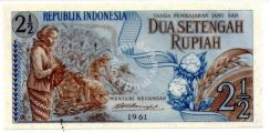 Indonesia 2 1/2 rupiah Banknote UNC 1961