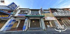(360 VR) Penang Road Near Chulia St Heritage Shophouse Face Main Rd
