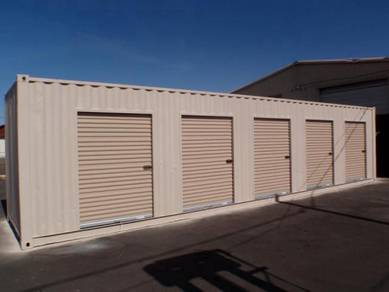 40 ft shipping container with four roll up doors