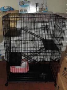Sangkar kucing 3-tingkat Plaform besi