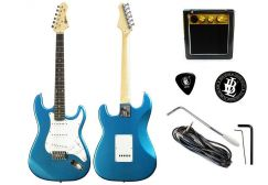 Basic Electric Guitar+ Amplifier +Cable (Biru)