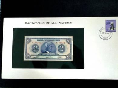 Haiti 2 Gourdes UNC Franklin Mint Banknote F155552