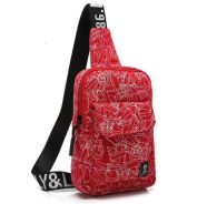 1113 Red Graffiti Crossbody Chest Bag Men Backpack