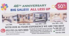 46th ANNIVERSARY BIG SALE ALL LESS UP 50%