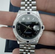 Authentic Rolex 16234 with diamonds and Blue Sapph