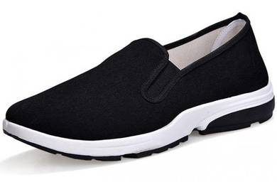 F0269 Black Breathable Slip On Sneakers Shoes