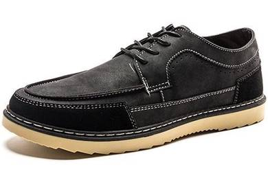 F0238 Retro Black Suede Business Casual Boat Shoes