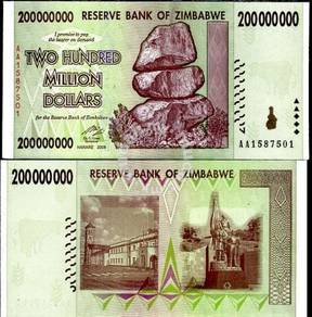 Zimbabwe 200 million dollars 2008 p 81 unc