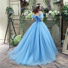 Blue cinderella cosplay wedding bridal gown dress