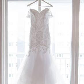 Off Shoulder Applique Tulle Mermaid Wedding Dress