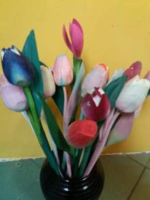 Balinese wood craft flower H=14