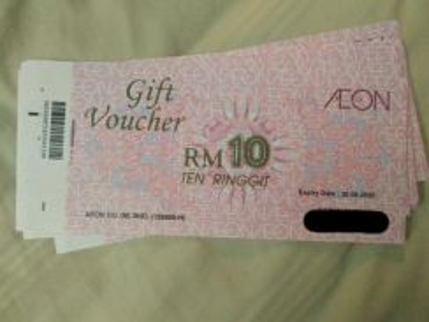 Aeon Gift Voucher value of RM 1,000