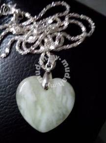 ABPJ-H021 White Natural Jade Heart Love - Necklace