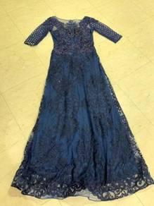 Blue long sleeve wedding evening prom dress gown