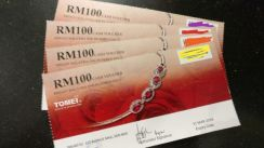 4 X RM100 TOMEI Cash Voucher for sale