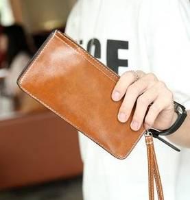MBH233 Ultra Zipper Clutch Bag Long Wallet (Brown)
