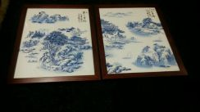 Vintage Chinese porcelain blue white art 2pcs SLG