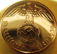 Nazi german 1 reichspfenning 1939 genuine coin