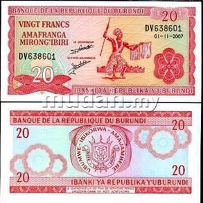 Burundi 20 francs 2001 unc banknote