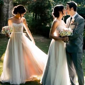Urosa White boho tulle wedding bridal gown dress