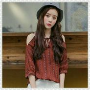 Cold Shoulder Tie Neck Blouse (KR091525)