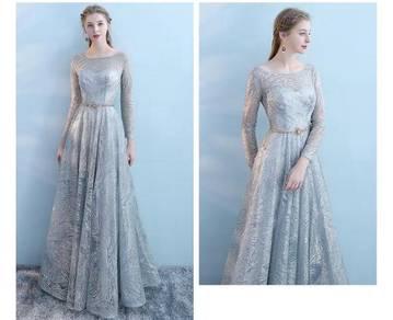 Long sleeve wedding bridal prom dress gown RBP076