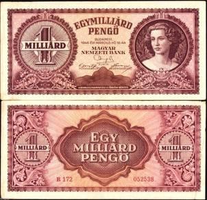 1946 Hungary 1 Billion 1,000,000,000 Pengo VF #A