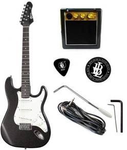 BLW Glitz Electric Guitar - Free Amplifier (Hitam)