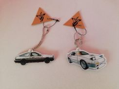 Ae86 trueno and rx7 rx-7 fc initial d keychain