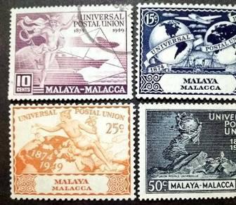 Malaya 1949 Malacca Universal Postal Union Used