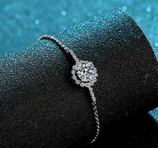 S925 1 Carat Moissanite Flower Bracelet