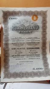 Netherland big size bond coupont 1927