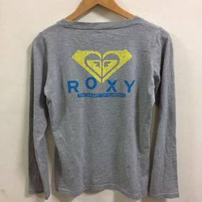 Roxy Big Logo Gray Shirt Size L The Heart of Surf
