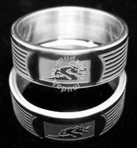ABRSS-D003 1 Dragon 2 tone 6 Line Stainless Ring 7