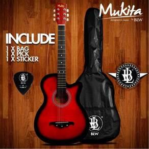 38Inch Gitar Akustik (Red) - Mukita By BLW