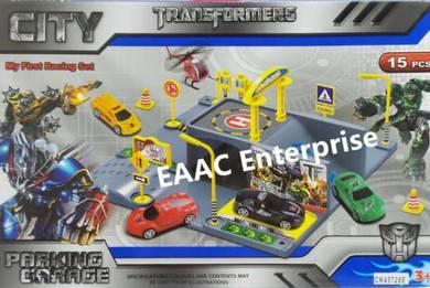 Transformers Cars Racing Parking Garage Set 15pcs